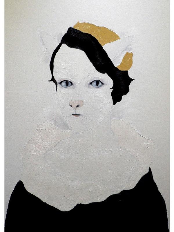 Camille - Portrait half Human half animal Cat - Print by Jiab