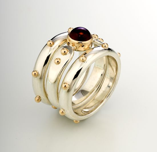 Forged End Ring Set: Linda Smith: Silver, Gold & Stone Rings - Artful Home