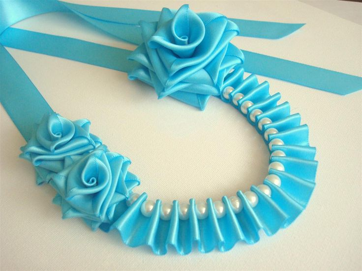 Ribbon Necklace Turquoise Satin Roses Necklace Fabric by Ivanna