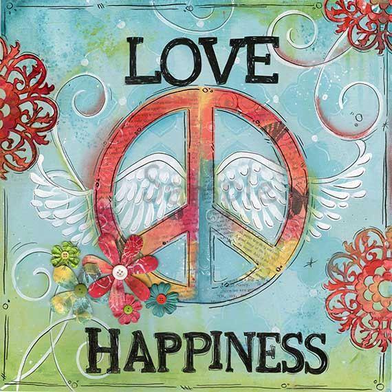 Love Peace Happiness~ Children's Wall Art~ Tween Teen Art~ Peace~ Wings~ Girls Room~ Bathroom Decor~Art Print~ Funky~ Whimsical~ Peace Sign