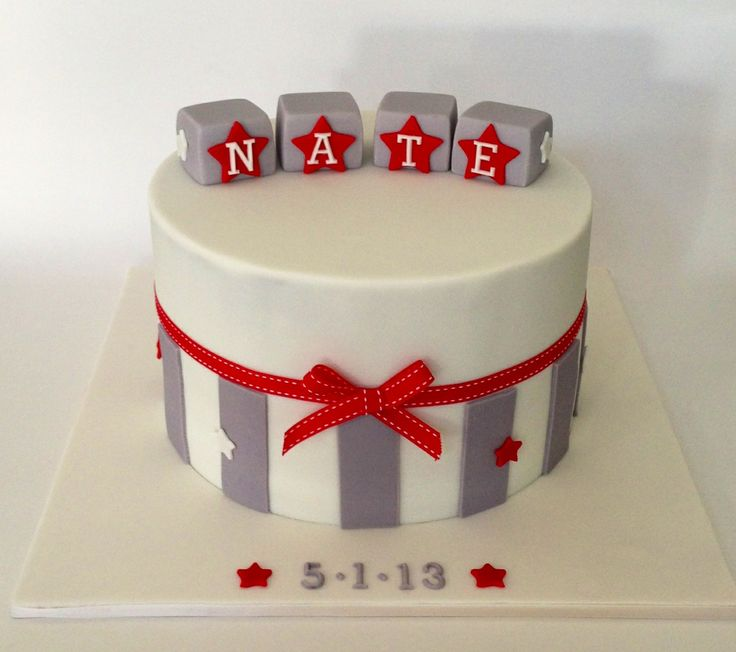 Boys Christening Cake - grey and red