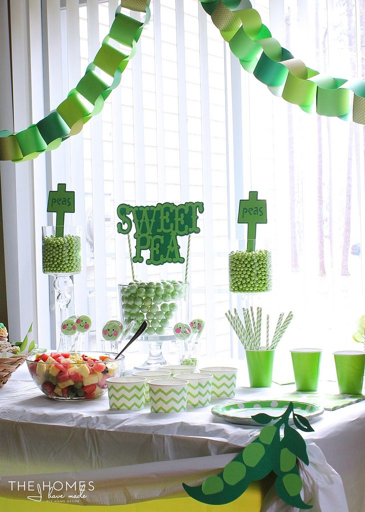 Sweet Pea Baby Shower. Green Sixlets (or gumballs) would be a cute favor.