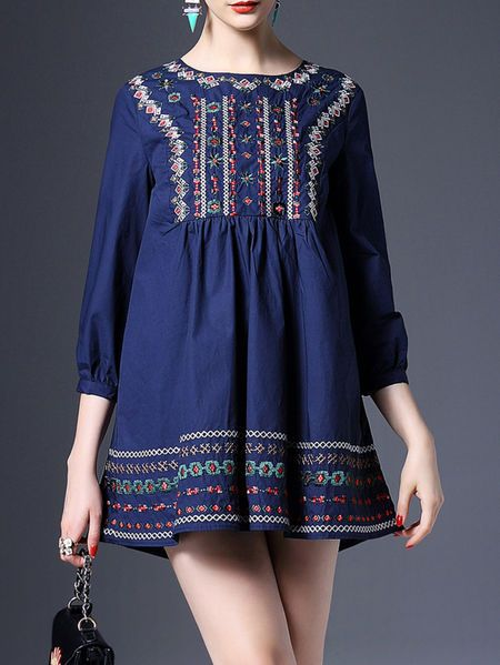 Embroidered Cotton Mini Dress