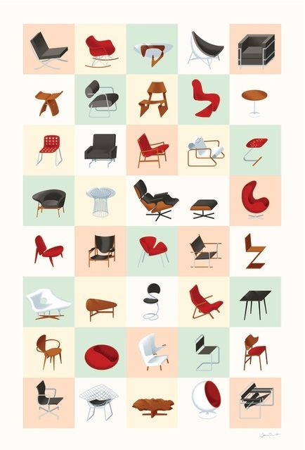 Mid century furniture shapes