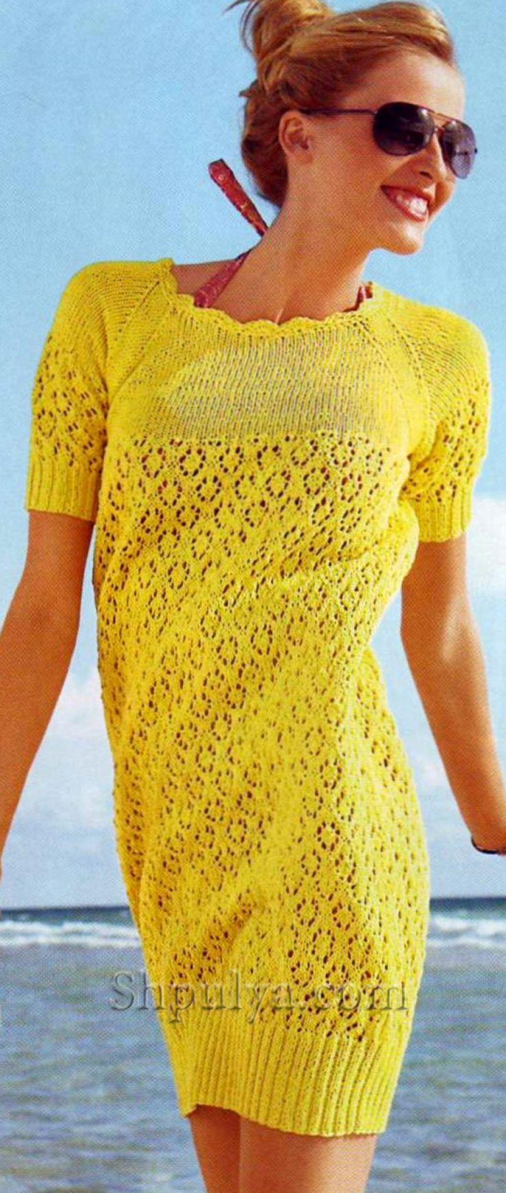 Желтое ажурное платье-баллон спицами