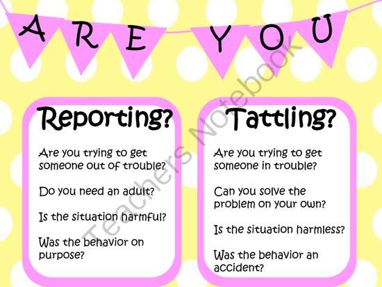 Tattling vs Reporting from Miss 2nd Grade on TeachersNotebook.com (1 page)  - FREEBIE! Tattling vs Reporting