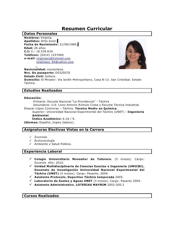 Modelo De Curriculum Vitae Venezuela En 2020 Modelos De Curriculum Vitae Curriculum Vitae Tipos De Curriculum