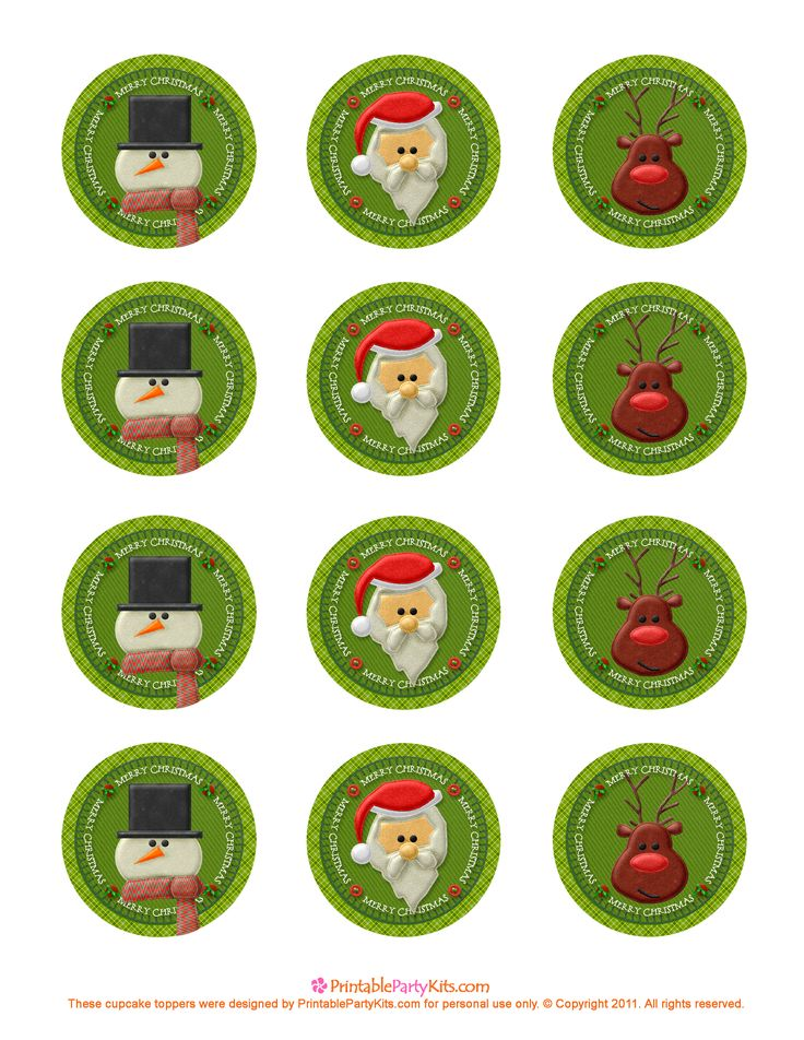 Cute free cupcake topper Christmas images by printablepartykits.  Click on the image to download from the original site.