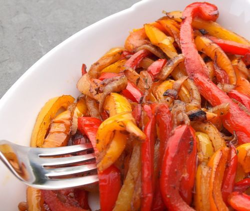 Couldn't find a recipe online to pin the way I like to saute peppers and onions...but I stole the picture from this website.  The trick for the BEST caramelized peppers and onions is not with balsamic vinegar like this recipe calls for, but with BROWN SUGAR!  So good =)