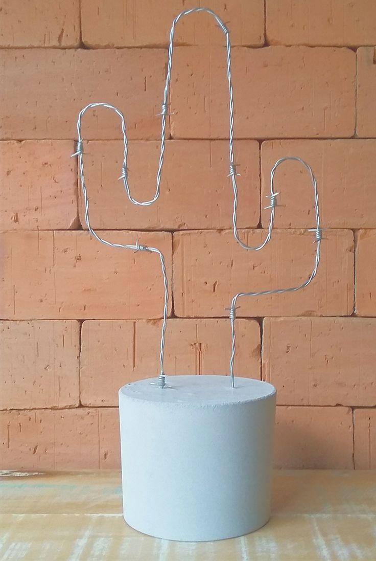 DIY: Cactos / Arame farpado + Base de cimento