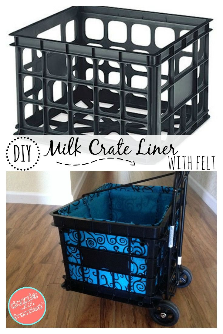 How to make a fabric liner for a plastic milk crate storage system using felt and adhesive Velcro to hide your stuff for great organization. via @https://www.pinterest.com/dazzlefrazzled/