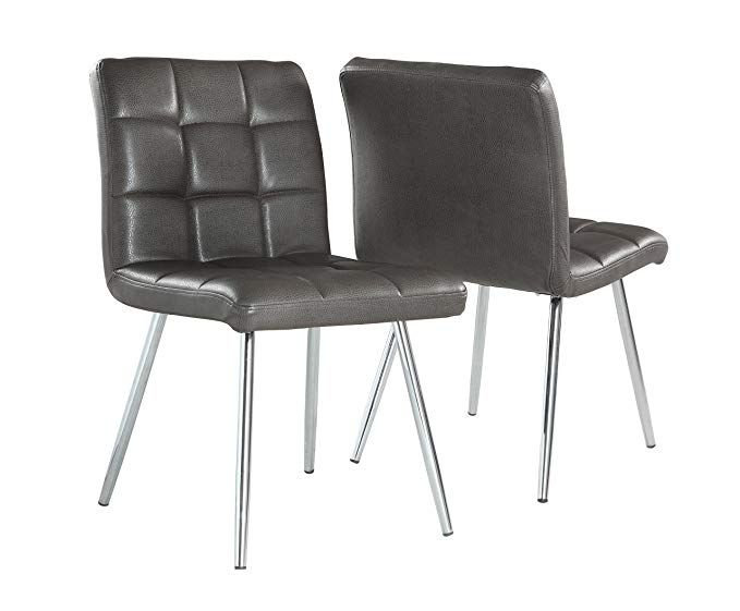 Monarch Specialties Grey Leather Look Chrome Metal 2 Piece Dining