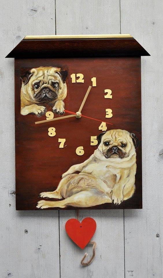 Painted clock PUG dog portrait original oil painting by CanisArtStudio #dog #pug #fuuny #clock #painted #oilpainting #home #decor #design