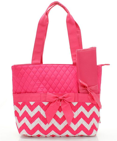 Personalized pink and white chevron Diaper bag by sewsassybootique, $29.95