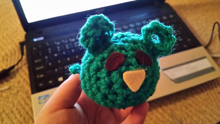 1st ever self-made green amigurumi mouse...