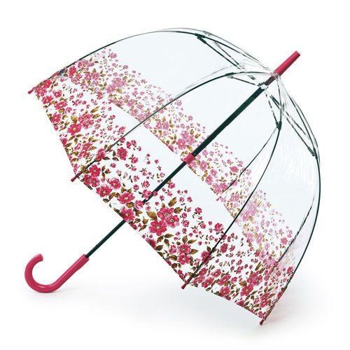 Regenschirm Fulton Vogelkäfig Neu Blumenmuster Am Rand Rosa Durchsichtig awww so preety for gray day