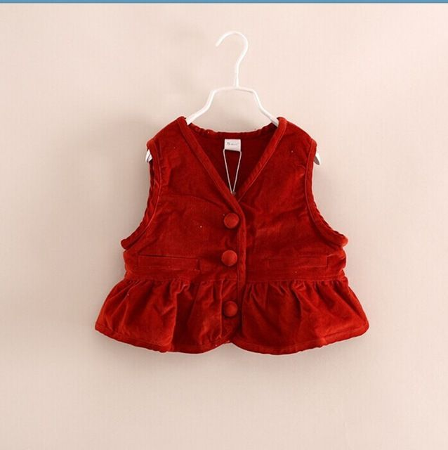 """New 2014 Autumn Children outerwear baby girls cute Boutique sweet vest Kids fashion high quality waistcoat 6pcs/lot US $101.00 /lot (6 pieces/lot) Specifics Outerwear TypeVest Department NameChildren Item TypeOuterwear & Coats Clothing LengthRegular Pattern TypeSolid Brand Namehappy growing Style""""European and American Style GenderGirls MaterialCotton,Spandex,Polyethersulfone Fabric TypeWorsted Thicknessnormal CollarV-Neck   Click to Buy :http://goo.gl/t9O329"""