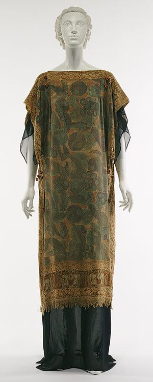 Ensemble, 1920's, Raymond Duncan (brother of Isadora), American, Tussah silk with polychrome hand-painted vegetal motif, navy blue silk chiffon.