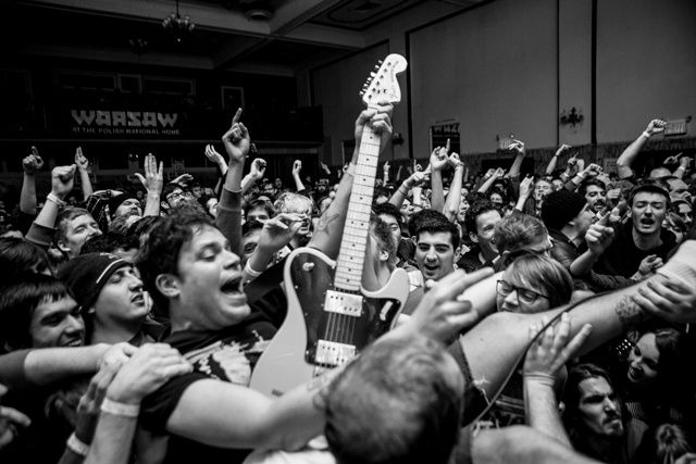 """Jeff Rosenstock of """"Bomb the Music Industry!"""" playing like he always has. Photo by Rebecca Reed.   (http://noisey.vice.com/blog/bomb-the-music-industry-is-dead-probably-theyre-not-sure-but-yeah-whatever-probably)"""