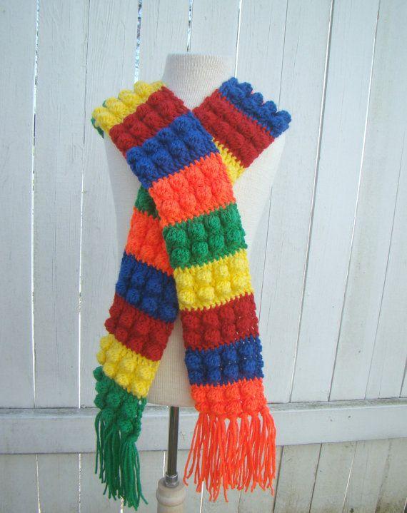 Free Crochet Pattern For Lego Hat : Lego Inspired Kids Scarf Crochet block childrens scarves ...