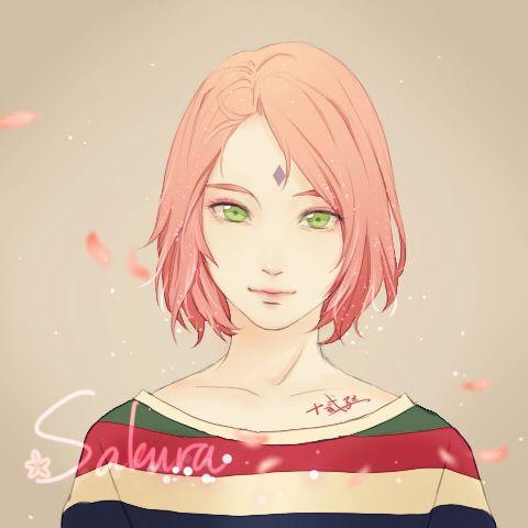Tags: Anime, Pixiv Id 7513453, NARUTO, Haruno Sakura, Bust, Lip Gloss, Flower (Symbol)