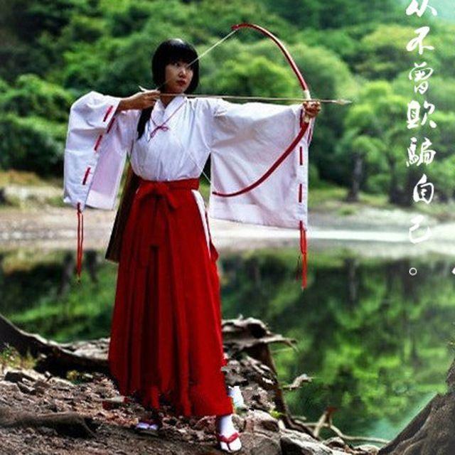 Anime Inuyasha Kikyo Kimono Cosplay uniforme de Halloween mujeres disfraces juego completo tamaño sml XL envío gratis