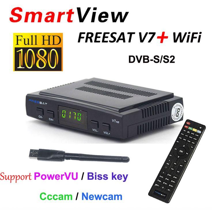 [גרסה מקורית] Freesat V7 עם Wifi USB תמיכת מקלט DVB-S2 HD טלוויזיה בלווין PowerVu מפתח ביס Cccamd Newcamd Youporn
