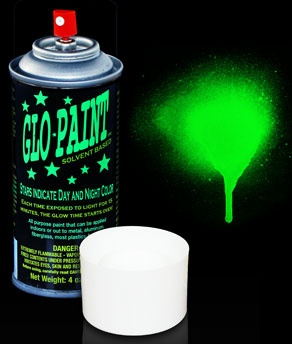 glow paint aerosol spray can green paint a banner with glow paint. Black Bedroom Furniture Sets. Home Design Ideas