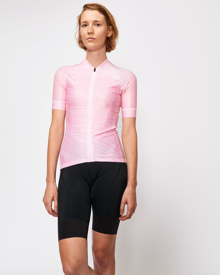 Tenet Supply Australian Made Cycling Jersey for Women (Bombe print in soft pink tones).
