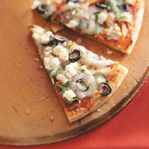 *Update* Followed the recipe except didn't have spinach on hand and had less feta so added more mozzarella and it was very good!*Easy Greek Pizza Recipe---Good idea!