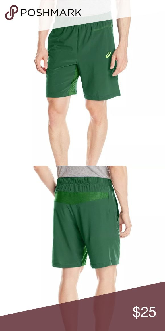 """Asics Woven 9"""" Short - Oak Green sz XL 89% Polyester/11% Spandex  Imported  Seamless knitted ribbed and mesh inserts at back for enhanced ease of movement and greater comfort  Soft, woven, lightweight rip stop fabric provides excellent moisture management for comfort and performance  Strategic seam placement and flat seam construction add comfort and eliminate chaffing  Front pockets provide secure storage  Inseam Length: 9""""  Orig Price $50 Asics Shorts Athletic"""
