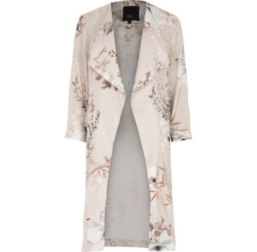 Checkout this Grey floral print side split duster coat from River Island