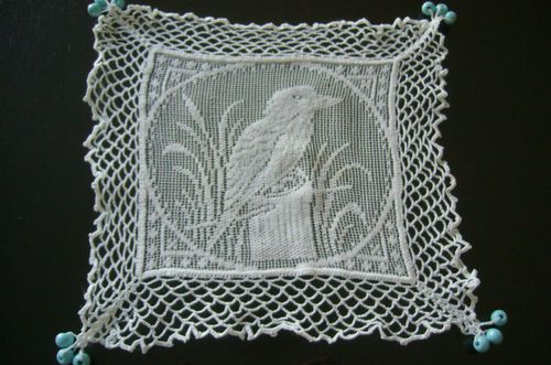 (ebay) ANTIQUE COLLECTABLE CROCHET/FILET LACE MILK JUG COVER WITH KOOKABURRA PATTERN