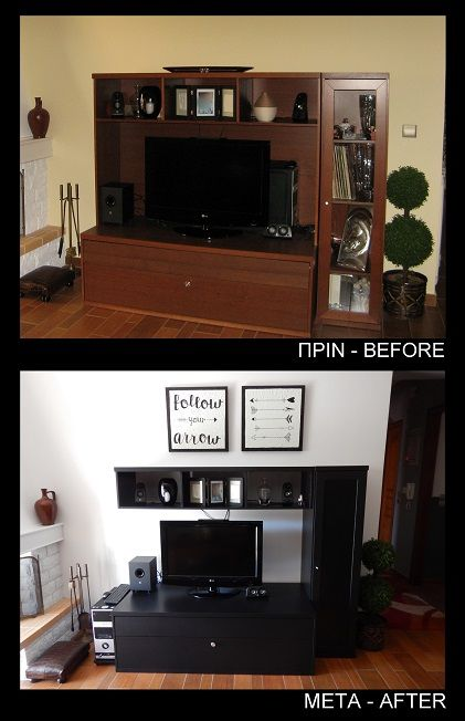 Tv furniture before and after. I cutted off the back of the furniture and i painted all black.