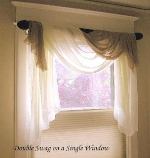 I Like The Asymmetrical Design Of These Window Scarves For The Master Bath  Window