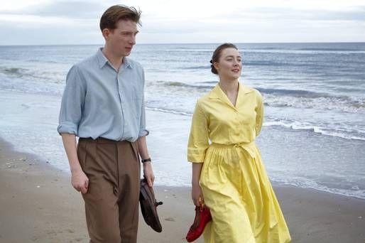 "Saoirse Ronan as Eilis Lacey in ""Brooklyn"". What a wonderful dress, lovely colour!"