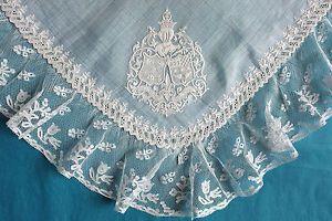 Старинный Гербовник свадебный платок-Валансьен тюльпан кружевной каймой   eBay