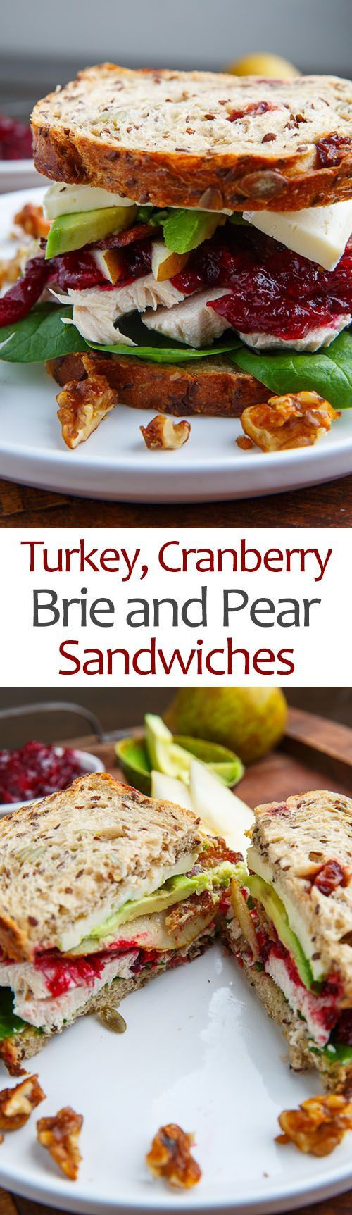 Turkey, Cranberry, Brie and Pear Sandwiches with Avocado and Bacon.  Looking for that something different well here it is.  Get good solid bread for this one.  Get bread from the Bakery.