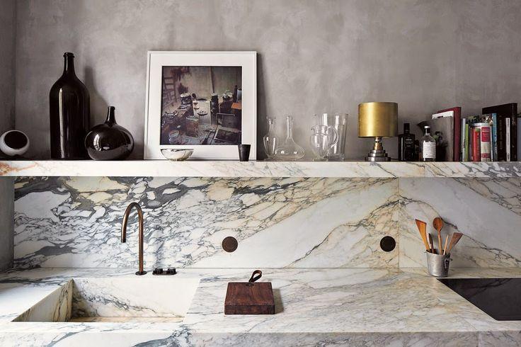 Paris kitchen of architect Joseph Dirand.   #kitchen #paris #marble