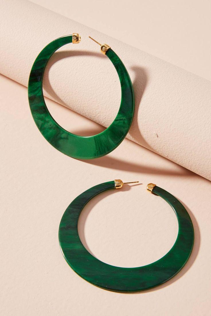 Great Green Paradise Hoop Earrings | Anthropologie