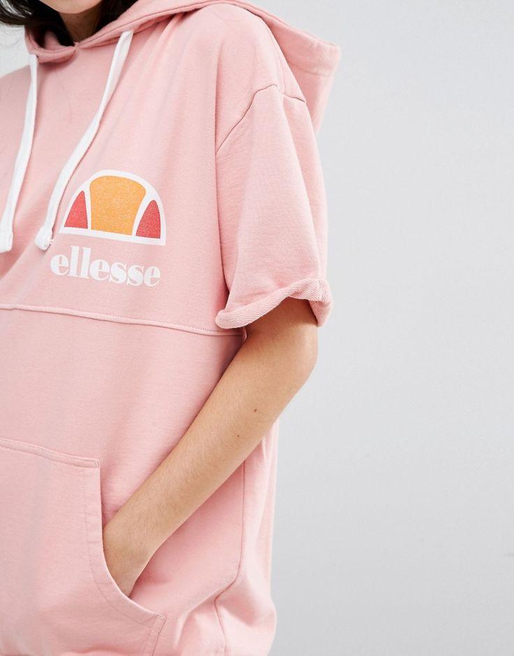 Image 3 - Ellesse - Sweat oversize à capuche et manches courtes avec logo…