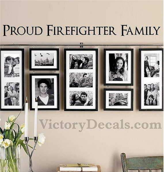 "Vinyl Wall Decal - 36x2.5 - ""Proud Firefighter Family"" Quote on Etsy, $20.00"