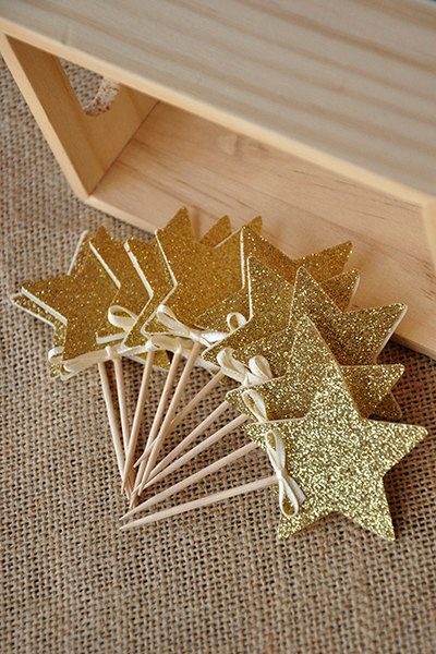 Our Confetti Momma Glitter Gold Star Cupcake Toppers are perfect for adding a little sparkle to a pink and gold birthday party. They will make