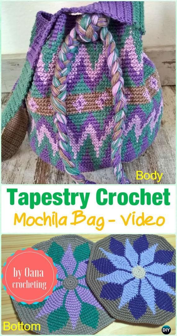 Tapestry Crochet Mochila Bag Free Pattern Video - #Tapestry #Crochet Free Patterns