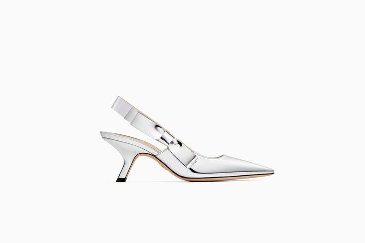 """undefined Cliquez ici pour agrandir l'image du produit Escarpin """"Dior Sweet-D"""" en veau miroir argent"""