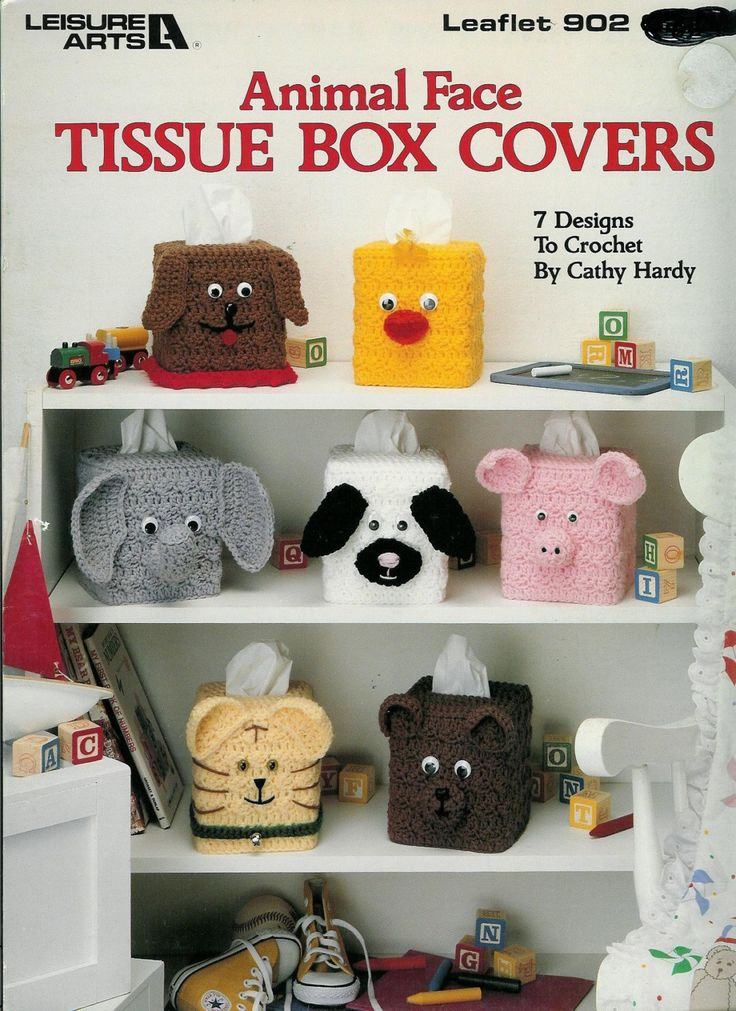 Animal Face Tissue box Covers to crochet by Leisure Arts                                                                                                                                                                                 More