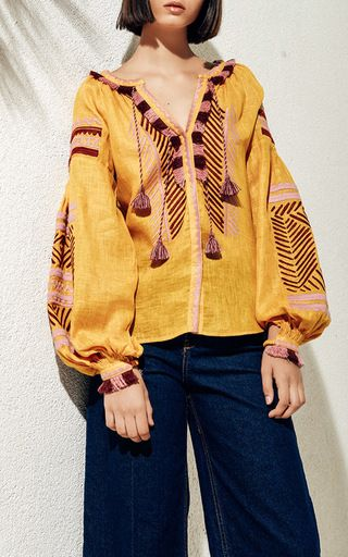 Namibia Linen Embroidered Blouse