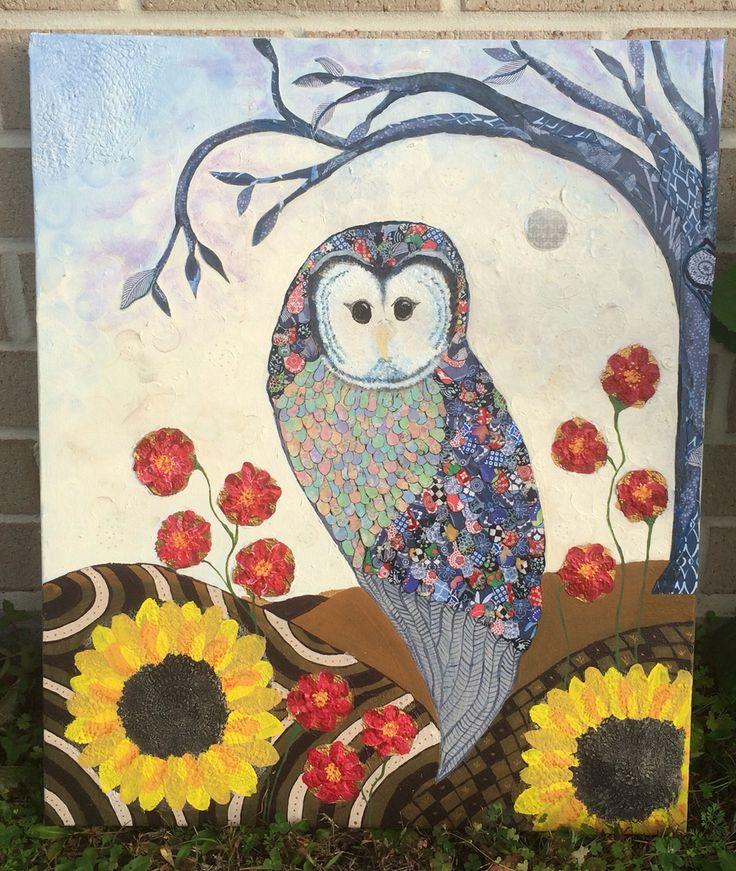 Owl in moonlight. Mixed media by Katie Watts