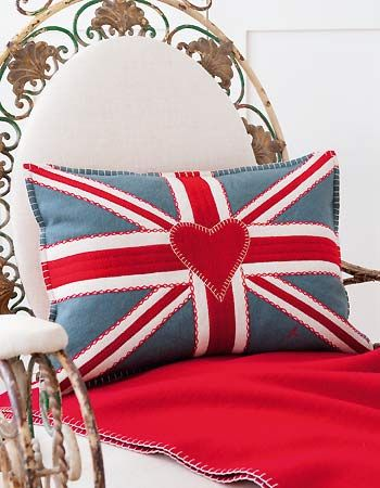 Basically I just want a Union Jack pillow like they have in BBC Sherlock >.>    Free pattern for an iconic embroidered design, featuring embroidery and appliqué, by Jan Constantine