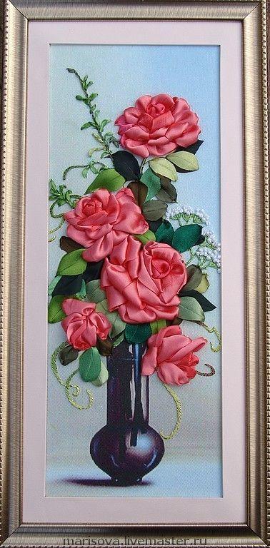"""Картины цветов ручной работы. Ярмарка Мастеров - ручная работа Картина лентами """"Очарование роз"""". Handmade."""